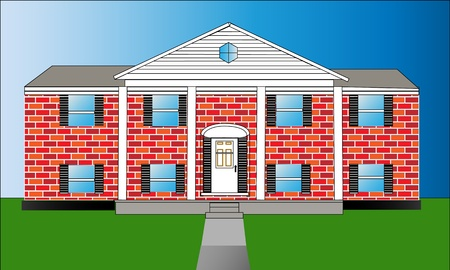 land owner: Vector illustration of raised ranch home with big pillars in front  Illustration