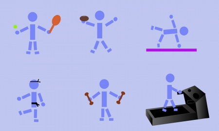 Stick figure demonstrating six different exercises.
