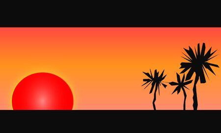 熱帯のビーチに夕日の燃える赤の図ベクトル。ヤシの木の芸術的なシルエットが見られます。  イラスト・ベクター素材