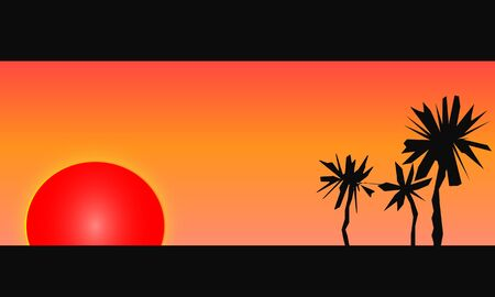 Vector illustration of a blazing red sun setting on a tropical beach. Artistic silhouettes of palm trees are seen.