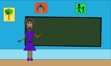 Vector illustration of woman teacher standing in front of the chalkboard ready to teach. Stock Vector - 19708684