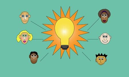 shining light: Ilustraci�n de brillante bombilla de luz brillante. Brainstorm concepto con muchos compa�eros de trabajo de entrada.