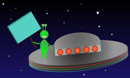 Green alien creature holds up a blank sign while surfing on top of his spacecraft.