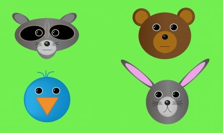 Four forest wildlife animal heads.