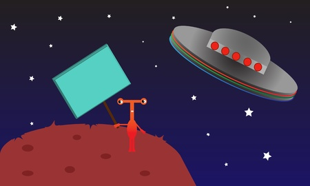 Alien creature holds an empty picket sign while watching its spacecraft fly away. Vector