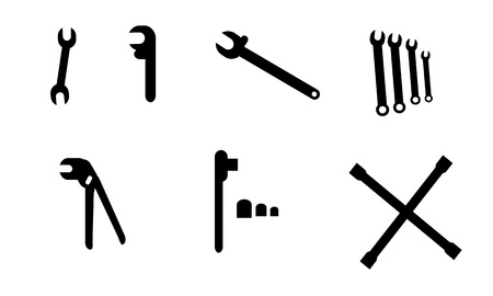 adjustable: Collection of simple black wrench illustrations.