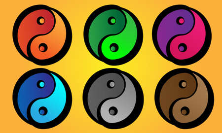 taoist: Yin and Yang symbols with varying colors and bold outline. Illustration