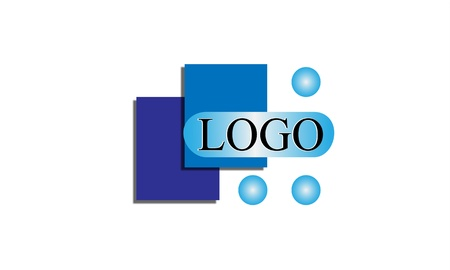Simple and clean logo design using blue geometric shapes