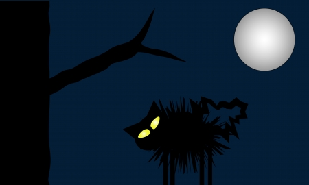 stealthy: Scared cat puffs up on a moonlit night  Glowing yellow eyes stand out against the dark silhouettes of night   Illustration