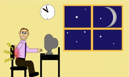night shift: Cartoon office man working late at his computer station. His back causes him obvious pain.  Illustration