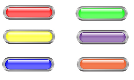 Long rectangular buttons with glass effect.  They are set in reflective silver metallic base. All elements are separate. Stock Vector - 20215386