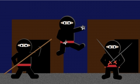 Three hooded ninja warriors jump from the shadows brandishing weapons. File is layered and pixel perfect. Vector