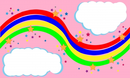 Decorative rainbow banner with colorful stars and empty white clouds. File is layered and pixel perfect.