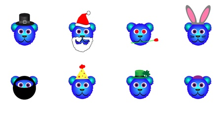 Set of cute blue bear heads with an assortment of holiday accessories. File is layered and pixel perfect. Vector