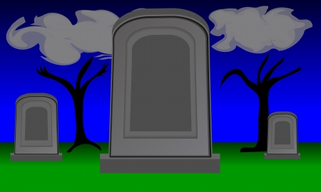 pixel perfect: Large empty gravestone in cemetery. Two smaller gravestones are in the background. Night scene with wispy clouds and twilight sky. File is layered and pixel perfect.
