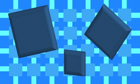 pixel perfect: Blue checkered background design with several 3D empty blue squares. File is layered and pixel perfect.