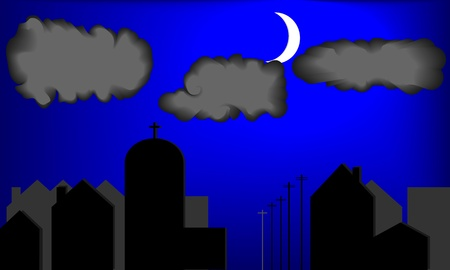 Illustration of city houses silhouette at twilight  Clouds and moon are present  Pixel perfect and layered file   Illustration