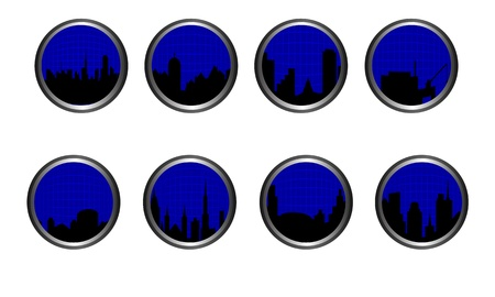 midtown: Set of buttons placed in metallic silver  Subject is city skylines with grid overlay  Illustration