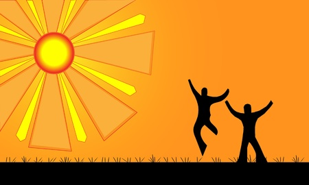 Beautiful warm rays of sun shine down on two happy people silhouettes   Stock Vector - 20485473