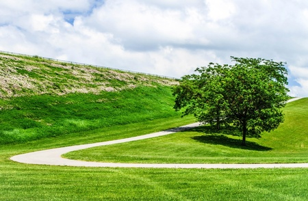 Paved curving path up a hill  Beautiful fluffy clouds are in the sky