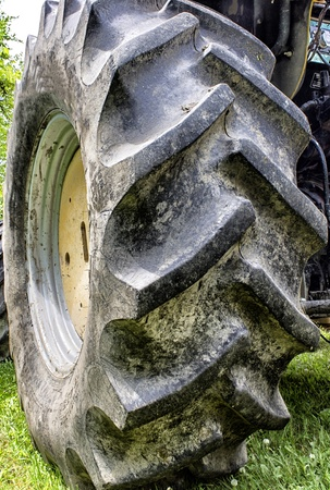 Closeup view of giant rubber tractor tire