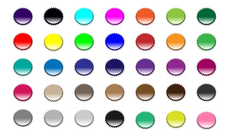 Large set of empty badges in many colors  Separate elements