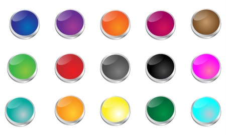 Large set of glossy punch buttons in many colors  Circles are set into metal rings