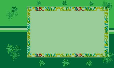 Floral design in various shades of green  Empty blank box