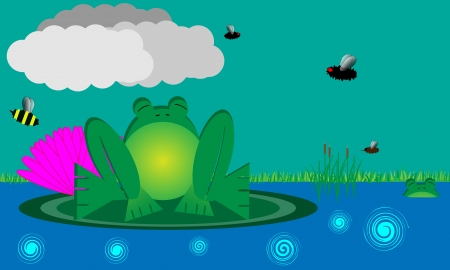 Large bullfrog sits on a lilypad  Insects fly by  The file is layered   Vector