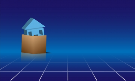 House in a 3D cardboard box on reflective blue tile surface  Empty space  Stock Vector - 20886996