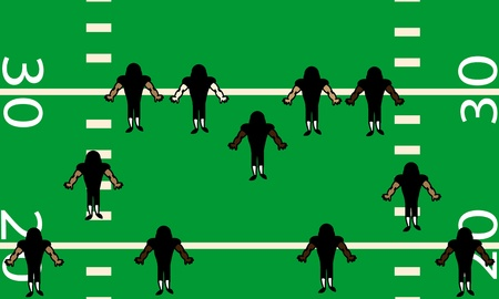 Illustration of defensive side of American football team on the field  Birds eye view