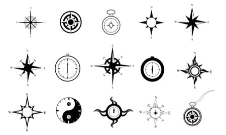 Set of 15 black and white compasses in varying styles  File is layered