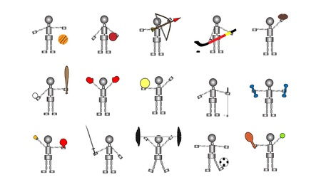 Set of 15 robot stick figures accompanied by different sports and exercise equipment  File is layered  Stock Photo