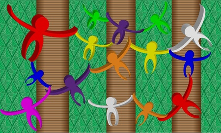 Multicolored 3D monkey shapes with an artistic rendering of a  jungle forest background