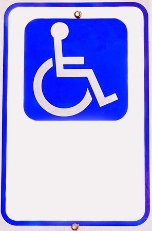 Clean shot of classic blue and white handicap wheelchair sign