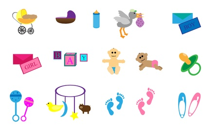 Collection of 15 items with a baby theme  Bassinet, pram, stork, baby boy, baby girl, foot prints, and toys   Vector