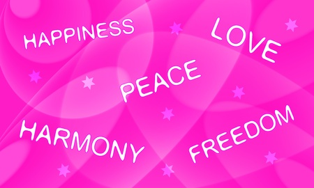 Peace, love, happiness, harmony, freedom  Words on lovely pink decorative background