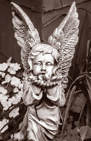 Crisp black and white shot of statue of childlike stone angel cupping its hands for a little bird  Stock Photo