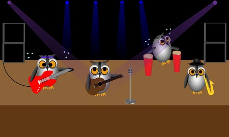 Illustration of four owls on stage playing in a rock band.  Vector