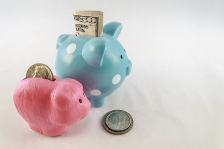 50 dollar bill: A big blue and polka dot piggy bank with a 50 dollar bill sticking out and a small pink piggy bank with silver dollar in the slot  Coins are stacked on the white background