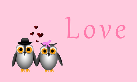 Male owl and female owl holding wings in this Valentine inspired vector