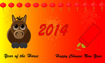 Happy Chinese New Year 2014  Beautiful red designs and cartoon of the yearly animal the horse  Seperate grouped elements   Stock Photo