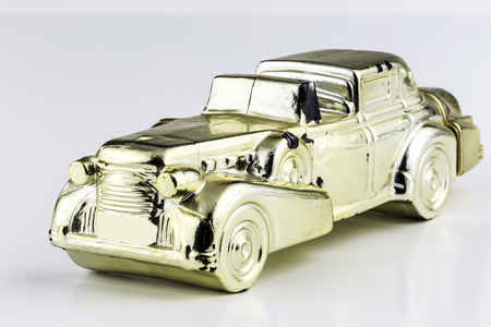 collectable: Golden collectable minature luxury car   Stock Photo