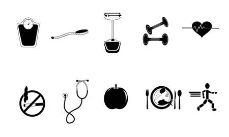 Black and white collection of health conscious items  Seperate elements  File is layered   Stock Photo