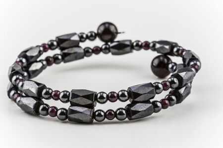 Wrap bracelet made of healing hematite stone and red beds