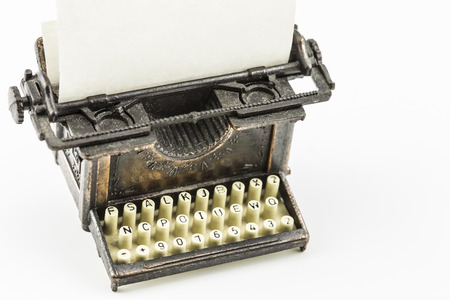 minature: Bronze minature model of an old fashioned typewriter Stock Photo
