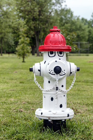 Clever and creative painted fire hydrant. Styled into a dalmation dog with fire hat.