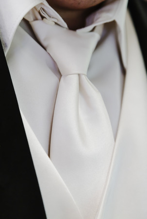 Cream colored shirt, vest, and tie of the groom.  Stock Photo