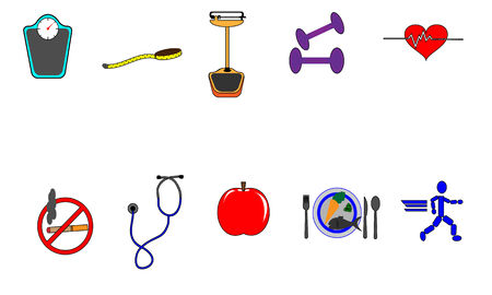 Collection of health conscious items. Seperate elements. File is layered. EPS 10.