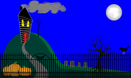 Twisted spooky house on a hill with wicked trees. Full moon shines down on this iron fenced yard. Pixel Perfect. Seperate elements. File is layered. EPS 10. Stock Photo